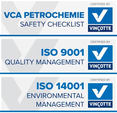 VCA petrochemie, ISO 9001 & ISO 14001 certified